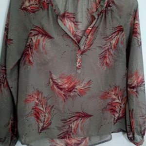 Feather Print Sheer Blouse with Full Sleeve